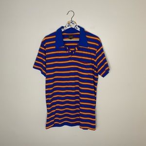 OBEY red/blue short sleeve striped casual shirt L